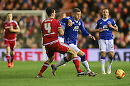 Everton midfielder Ross Barkley  takes on Middlesbrough defender Daniel Ayala  during the Capital One Cup match between Middlesbrough and Everton at the Riverside Stadium, Middlesbrough, England on 1 December 2015. Photo by Simon Davies.