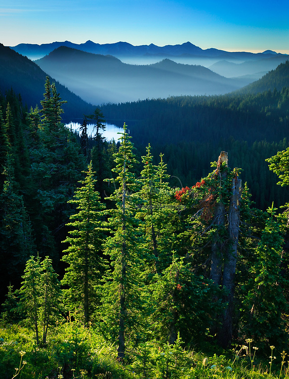 View of Dewey Lake and distant mountain ridges from Naches Peak trail in Mount Rainier National Park in Washington state.