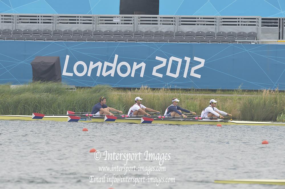 Eton Dorney, Windsor, Great Britain,..2012 London Olympic Regatta, Dorney Lake. Eton Rowing Centre, Berkshire[ Rowing]...Description;  USA M4X  12:49:59   Friday  27/07/2012..[Mandatory Credit: Peter Spurrier/Intersport Images].