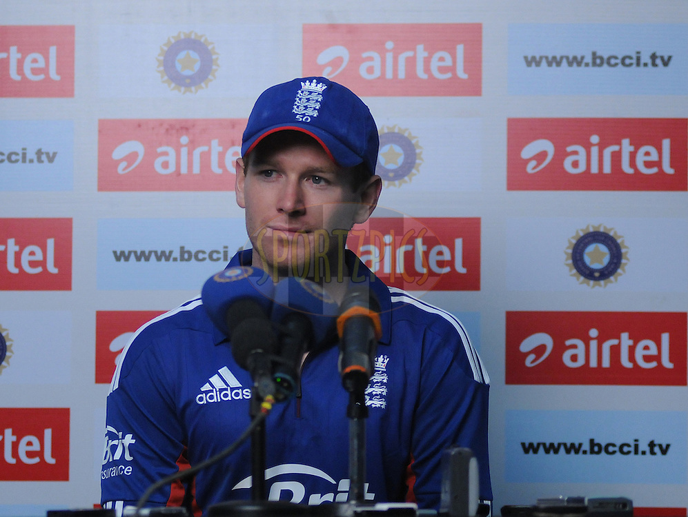 Eoin Morgan captain of England addresses a press conference after the first Airtel T20 Match between India and England held at Subrata Roy Sahara stadium in Pune on the  20th December 2012..Photo by  Pal Pillai/BCCI/SPORTZPICS .