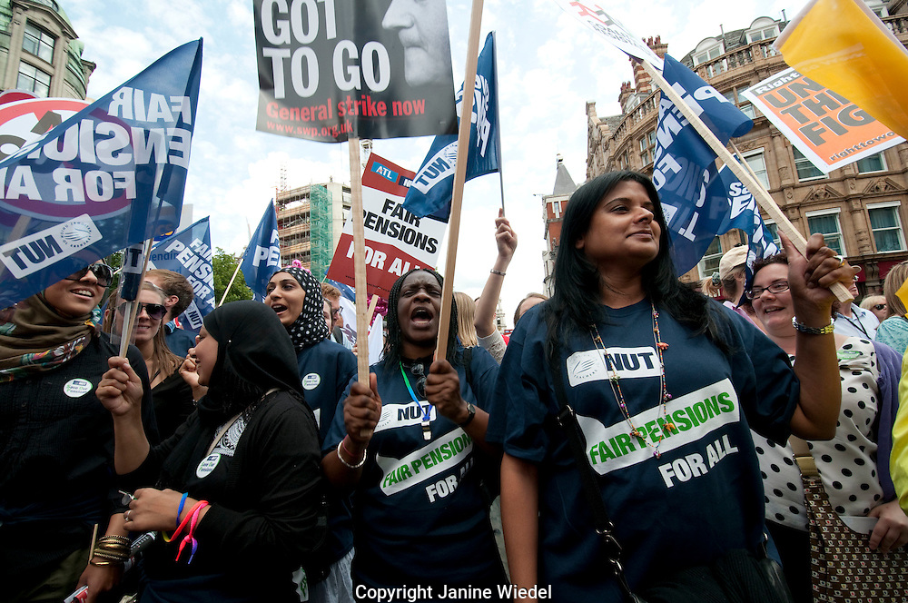 Teachers and Public sector workers march through London in support of widespread strikes against cuts and proposed changes to pensions. 30.6.2011