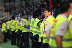 Security at last football match of PrvaLiga Telekom Slovenije between NK Maribor and NK Interblock, when Maribor became a Slovenian National Champion, on May 23, 2009, in Ljudski vrt, Maribor. (Photo by Marjan Kelner/Sportida)
