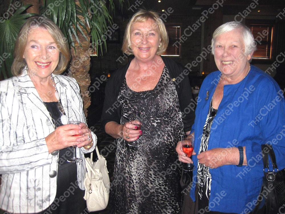 Liz Walshe, Mary Stafford and Judith Ironside celebrating the 45th anniversary of the Ennis and District Soroptimist Club.