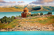 10th century Armenian Orthodox Cathedral of the Holy Cross on Akdamar Island, Lake Van Turkey 83 .<br /> <br /> If you prefer to buy from our ALAMY PHOTO LIBRARY  Collection visit : https://www.alamy.com/portfolio/paul-williams-funkystock/lakevanturkey.html<br /> <br /> Visit our TURKEY PHOTO COLLECTIONS for more photos to download or buy as wall art prints https://funkystock.photoshelter.com/gallery-collection/3f-Pictures-of-Turkey-Turkey-Photos-Images-Fotos/C0000U.hJWkZxAbg