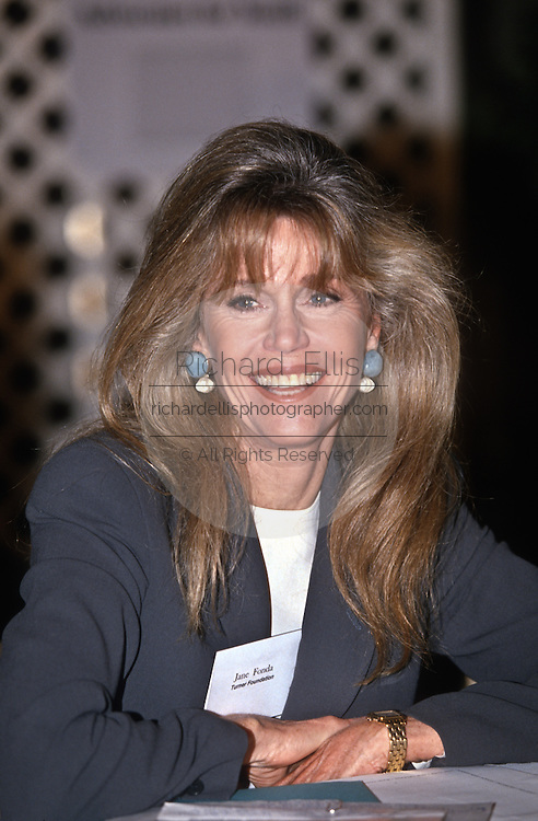 Actress and activist Jane Fonda speaks at the Press Club September 26, 1997 in Washington, DC.