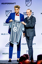 January 11, 2019 - Chicago, IL, U.S. - CHICAGO, IL - JANUARY 11: Dayne St. Clair is selected as the number seven overall pick to the Minnesota United FC in the first round of the MLS SuperDraft on January 11, 2019, at McCormick Place in Chicago, IL. (Photo by Patrick Gorski/Icon Sportswire) (Credit Image: © Patrick Gorski/Icon SMI via ZUMA Press)