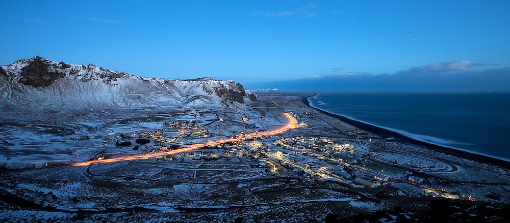 Vík in Mýrdalur at night, south Iceland