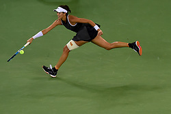 WUHAN, Sept. 28, 2017 Garbine Muguruza of Spain returns the ball during the singles quarterfinal match against Jelena Ostapenko of Latvia at 2017 WTA Wuhan Open in Wuhan, capital of central China's Hubei Province, on Sept. 28, 2017. (Credit Image: © Ou Dongqu/Xinhua via ZUMA Wire)