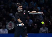 Tennis - 2019 Nitto ATP Finals at The O2 - Day One<br /> <br /> Singles Group Bjorn Borg: Roger Federer (Switzerland) vs. Dominic Thiem (Austria)<br /> <br /> Roger Federer (Switzerland) in action during the Nitto finals <br /> <br /> COLORSPORT/DANIEL BEARHAM