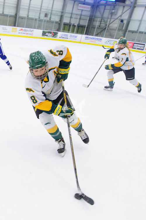 4th year forward Bailey Braden (8) of the Regina Cougars in action during the Women's Hockey Home Game on February 4 at Co-operators arena. Credit: Arthur Ward/Arthur Images