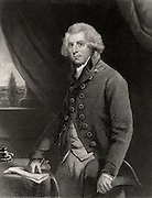 Richard Brinsley Sheridan (1751-1816) Anglo-Irish dramatist and Whig politician.  Author of 'The Rivals' and of 'The Duenna' a comic opera-play produced at Drury Lane Theatre, London, 1775. Proprietor of Drury Lane after David Garrick.  Friend of Charles James Fox.  Engraving after the portrait by Joshua Reynolds.