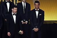 Zurich (Svizzera) 11/01/2016 - Fifa Ballon d'Or 2015 Pallone d'Oro / foto Matteo Gribaudi/Image Sport/Insidefoto<br /> nella foto: Lionel Messi winner, Cristiano Ronaldo