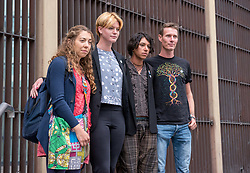 """© Licensed to London News Pictures. FILE PICTURE dated 04/09/2019. Bristol, UK. File picture of four of the """"Bathtub Five"""" at Bristol Magistrates Court who have been found guilty of obstructing a highway and each given a 12 month conditional discharge and told to pay court costs between £180 and £250. left - right: Dr CHRISTELLE BLUNDEN, IMOGEN PHILLIPS, ELLIOTT CUCIUREAN, TIMOTHY MILLER. It is reported today, 19/09/2019, that 14 members of Extinction Rebellion including the four above have been sentenced following earlier trials at Bristol Magistrates Court for obstructing a highway, all being given conditional discharges and told to pay court costs. They were accused of blocking traffic on Newfoundland Road at the end of the M32 with a pink bathtub on 17 July 2019 during Extinction Rebellion's five-day 'occupation' of Bristol, part of a country-wide week of rebellion called Extinction Rebellion Summer Uprising, holding protests in five cities across the UK. Some protestors attached themselves to a bathtub placed in the road and had to be removed by a specialist police team, disrupting traffic for much of the day. The defendants said their action was to draw attention to the climate emergency. Photo credit: Simon Chapman/LNP."""
