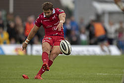 September 22, 2018 - Galway, Ireland - Leigh Halfpenny of Scarlets kicks a penalty during the Guinness PRO14 match between Connacht Rugby and Scarlets at the Sportsground in Galway, Ireland on September 22, 2018  (Credit Image: © Andrew Surma/NurPhoto/ZUMA Press)