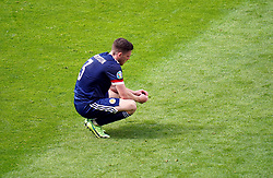 Scotland's Andrew Robertson appears dejected after the UEFA Euro 2020 Group D match at Hampden Park, Glasgow. Picture date: Monday June 14, 2021.