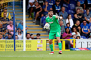 AFC Wimbledon goalkeeper Tom King (1) pointing during the EFL Sky Bet League 1 match between AFC Wimbledon and Coventry City at the Cherry Red Records Stadium, Kingston, England on 11 August 2018.