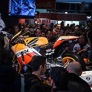 Motosalone Eicma edizione 2012: la moto del 2012 di Dani Pedrosa allo stand Honda..International Motorcycle Exhibition 2012: 2012 Dani Pedrosa motorbike at the Honda stand