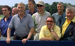 File photo dated 19/07/1999 of (front left to right ) Robert Powell, Bruce Forsyth, Chris Evans, Ronnie Corbett and Jimmy Tarbuck before the start of the Alfred Dunhill Celebrity Challenge Golf at Wentworth in aid of the Northern Ireland Children's Hospice. TV veteran Sir Bruce Forsyth has died at the age of 89, his family have announced.