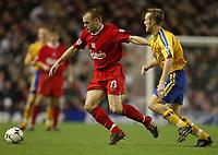Photo. Aidan Ellis, Digitalsport<br /> Liverpool v Southampton.<br /> FA Barclaycard Premiership.<br /> 13/12/2003.<br /> Liverpool's Danny Murphy and Southampton's Brett Ormerod