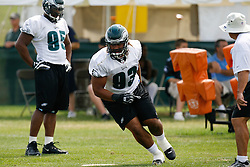 Bethlehem, PA - August 2nd 2008 - Defensive Tackle Trevor Laws completes a drill  during the Philadelphia Eagles Training Camp at Lehigh University (Photo by Brian Garfinkel)