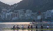 "Rio de Janeiro. BRAZIL.  GBR M+, boating for training session.  2016 Olympic Rowing Regatta. Lagoa Stadium,<br /> Copacabana,  ""Olympic Summer Games""<br /> Rodrigo de Freitas Lagoon, Lagoa.   Tuesday  09/08/2016 <br /> <br /> [Mandatory Credit; Peter SPURRIER/Intersport Images]"