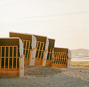 Beach huts on the Baltic coast at Bad Doberan, on the island of Rugen, northern Germany