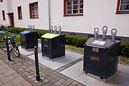 throw-in containers of the underfloor waste system at the Naumann housing estate in the district Riehl, Cologne, Germany.<br /> <br /> Einwurfbehaelter des Unterflur-Muellsystems in der Naumannsiedlung im Stadtteil Riehl, Koeln, Deutschland.