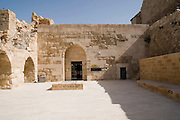 Middle East, Hashemite Kingdom of Jordan, Karak Governorate, the city of Al Karak in centre Jordan. The Karak Crusader Castle built in 1140 Raynald of Chatillon gained possession of Kerak in 1176. The entrance to the on site museum