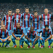 Trabzonspor's players during their UEFA Champions League third qualifying round, second leg, soccer match Trabzonspor between Benfica at the Ataturk Olimpiyat Stadium at İstanbul Turkey on Wednesday, 03 August 2011. Photo by TURKPIX