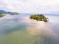 Aerial view of the coast at Vaia'au, Raiatea, Leeward Islands, French Polynesia
