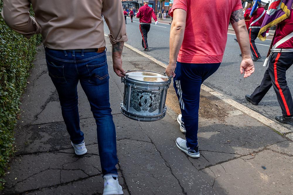 Drum carriers. Orange March, Belfast.