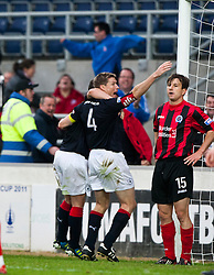 Falkirk's Darren Dods celebrates after scoring their goal..Falkirk 1 v 0 Queen of the South, 15/10/2011..Pic © Michael Schofield.