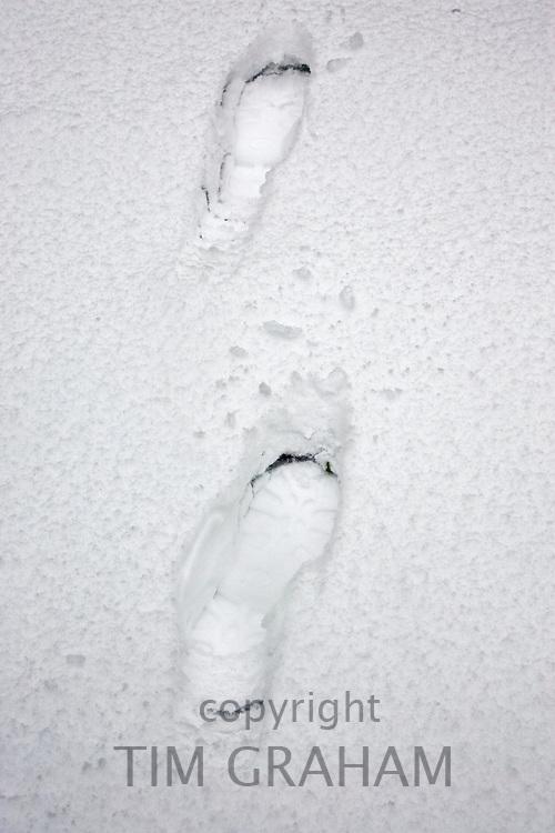 Footprints in snow, London, England, United Kingdom