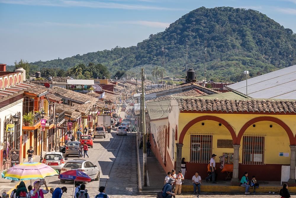 City view looking down Miguel Hidalgo Street from Parroquia Santa María Magdalena church in Xico, Veracruz, Mexico.