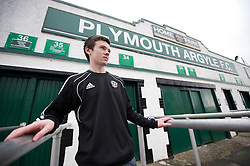 © under license to London News Pictures.  22/02/2011 Lee Gibson, a lifetime Plymouth Argyle supporter, stands outside Home Park stadium in Plymouth. Plymouth Argyle have been deducted 10 points by the Football League after issuing a notice of intention to appoint an administrator. Picture credit should read: David Hedges/LNP