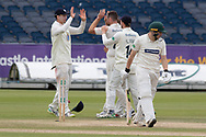 WICKET - Ben Raine celebrates the wicket of Harry Dearden during the Specsavers County Champ Div 2 match between Durham County Cricket Club and Leicestershire County Cricket Club at the Emirates Durham ICG Ground, Chester-le-Street, United Kingdom on 21 August 2019.