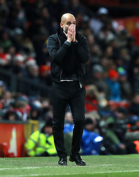Manchester City manager Pep Guardiola reacts on the touchline