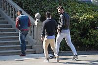 Olivier Giroud / Patrice Evra / Mathieu Valbuena  - 23.03.2015 -Equipe de France - Arrivee des joueurs a Clairefontaine<br />Photo : Andre Ferreira / Icon Sport