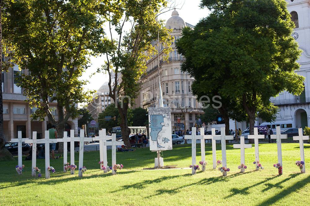 Rememberance memorial for the falklands war, outside Casa Rosada - Argentina's Parliament, Buenos Aires, Argentina.