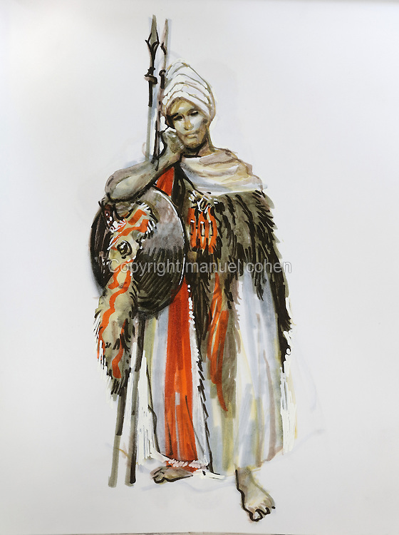 Character study of man with shield and spears wearing turban and furs, from a sketchbook featuring characters, costumes and storyboards for Le Feu Ecarlate or the Scarlet Fire, Series 35 of the Thorgal comic book series, to be published November 2016, by Grzegorz Rosinski, 1941-, Polish comic book artist. Rosinski was born in Stalowa Wola, Poland, and now lives in Switzerland, and is the author and designer of many Polish comic book series. He created Thorgal with Belgian writer Jean Van Hamme. The series was first published in Tintin in 1977 and has been published by Le Lombard since 1980. The stories cover Norse mythology, Atlantean fantasy, science fiction, horror and adventure genres. Le Feu Ecarlate takes place in Bag Dadh, a city under siege by the Magnus force, where Thorgal must find Aniel and save him from the Red Wizards who made him the reincarnation of their Grand Master Kahaniel. Picture by Manuel Cohen / Further clearances requested, please contact us and/or visit www.lelombard.com