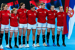 Serbia listen to national anthem during the Women's EHF Euro 2020 match between Netherlands and Serbia at Sydbank Arena on december 05, 2020 in Kolding, Denmark (Photo by RHF Agency/Ronald Hoogendoorn)