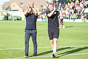 Forest Green Rovers manager, Mark Cooper and Forest Green Rovers Matt Mills(5) acknowledges the fans at the end of the match  during the EFL Sky Bet League 2 match between Forest Green Rovers and Colchester United at the New Lawn, Forest Green, United Kingdom on 14 September 2019.
