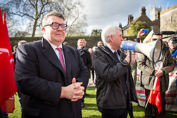 © Licensed to London News Pictures. 07/02/2017. London, UK. Deputy Leader of the Labour Party TOM WATSON (left) and Shadow Chancellor of the Exchequer JOHN MCDONNELL (right) attend a demonstration by British Airways cabin crew. Striking cabin crew working for the airline's mixed fleet demonstrate with flags and placards outside parliament today, seeking MPs' support for a higher wage. Photo credit : Tom Nicholson/LNP