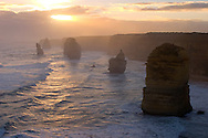 Twelve Apostles with hazy sunset, Western Victorian Coast, Australia.<br />