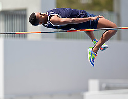 Reece Montsumi wins the boys U14 High Jump during the WPA Little Athletics meeting held at the Green point athletics stadium on 12 November 2016. photo by John Tee/RealTime Images