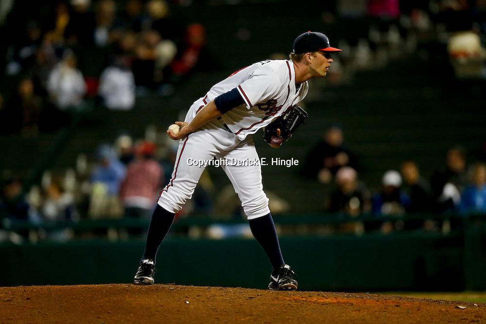 Mar 7, 2013; Lake Buena Vista, FL, USA; Atlanta Braves starting pitcher Aaron Northcraft (64) against the Detroit Tigers during a spring training game at Champion Stadium. Mandatory Credit: Derick E. Hingle-USA TODAY Sports