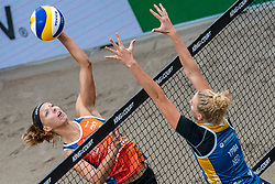 Katja Stam en Pleun Ypma in action during the first day of the beach volleyball event King of the Court at Jaarbeursplein on September 9, 2020 in Utrecht.
