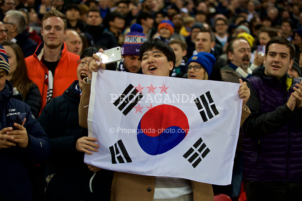 LONDON, ENGLAND - Sunday, January 13, 2019: A supporter with a South Korea flag during the FA Premier League match between Tottenham Hotspur FC and Manchester United FC at Wembley Stadium. (Pic by David Rawcliffe/Propaganda)