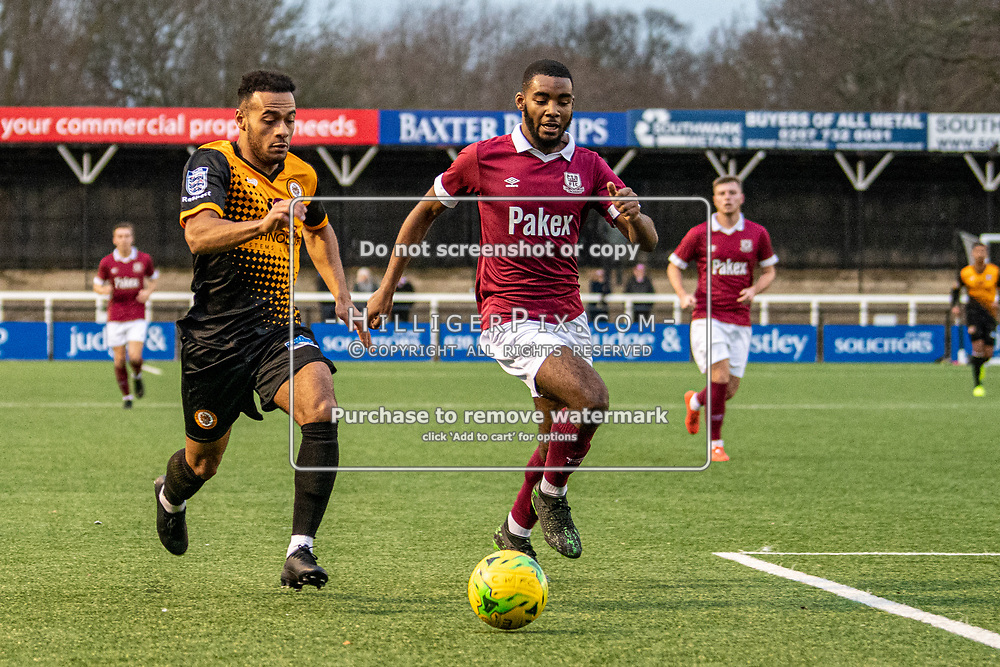 BROMLEY, UK - DECEMBER 07: Jerome Federico, of Cray Wanderers FC, tries to get the better of his defender during the BetVictor Isthmian Premier League match between Cray Wanderers and Potters Bar Town at Hayes Lane on December 7, 2019 in Bromley, UK. <br /> (Photo: Jon Hilliger)