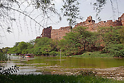 Purana Qila (Old Fort) Ramparts, and Lake, Delhi